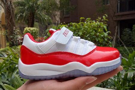 Jordan XI(11) White Red Low Kids